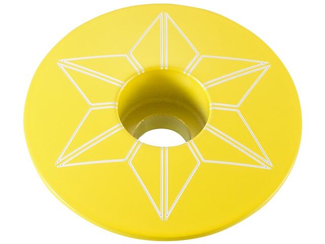 Supacaz Star Capz Ahead-Kappe pulverbeschichtet gelb